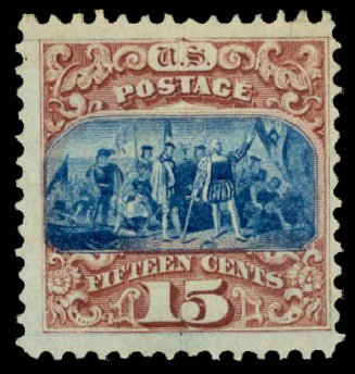 US Stamps Price Scott # 118: 1869 15c Pictorial Columbus. Daniel Kelleher Auctions, Aug 2015, Sale 672, Lot 2348