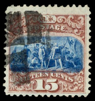 Prices of US Stamp Scott Cat. # 118 - 15c 1869 Pictorial Columbus. Daniel Kelleher Auctions, Aug 2015, Sale 672, Lot 2349