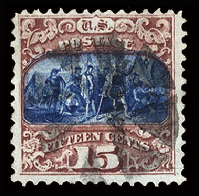 US Stamps Values Scott #118 - 1869 15c Pictorial Columbus. Cherrystone Auctions, Jul 2015, Sale 201507, Lot 50