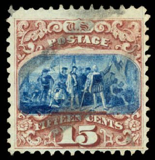 Values of US Stamps Scott Catalogue # 118 - 15c 1869 Pictorial Columbus. Daniel Kelleher Auctions, Aug 2015, Sale 672, Lot 2350