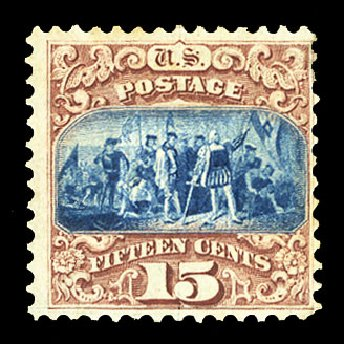 US Stamp Values Scott Catalogue # 118: 15c 1869 Pictorial Columbus. Cherrystone Auctions, Jul 2015, Sale 201507, Lot 2051