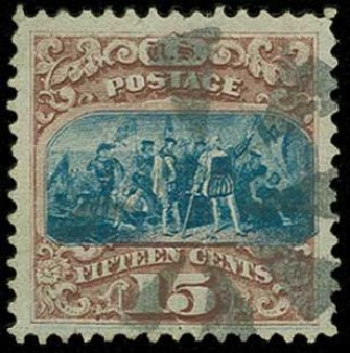 Value of US Stamp Scott Catalog 118: 15c 1869 Pictorial Columbus. H.R. Harmer, Jun 2015, Sale 3007, Lot 3191