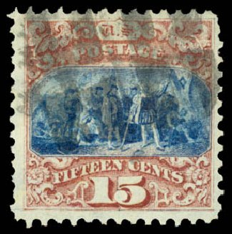 US Stamps Values Scott Catalog 118: 1869 15c Pictorial Columbus. Daniel Kelleher Auctions, Aug 2015, Sale 672, Lot 2351