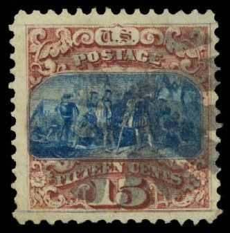 Values of US Stamps Scott Cat. # 118 - 1869 15c Pictorial Columbus. Daniel Kelleher Auctions, Aug 2015, Sale 672, Lot 2352