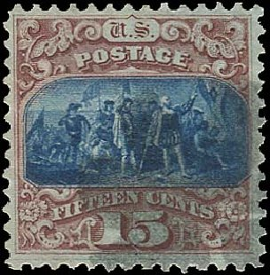 Values of US Stamps Scott Catalog 118: 1869 15c Pictorial Columbus. Regency-Superior, Aug 2015, Sale 112, Lot 262