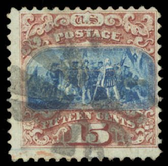 US Stamp Values Scott #118: 1869 15c Pictorial Columbus. Daniel Kelleher Auctions, Aug 2015, Sale 672, Lot 2353