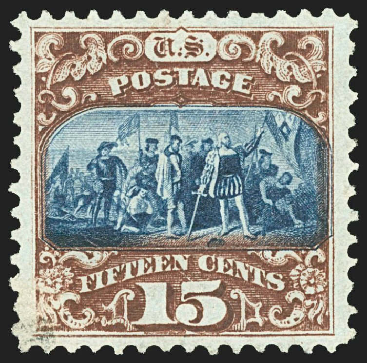 US Stamps Value Scott Catalogue # 119: 1869 15c Pictorial Columbus. Robert Siegel Auction Galleries, Jul 2015, Sale 1107, Lot 238