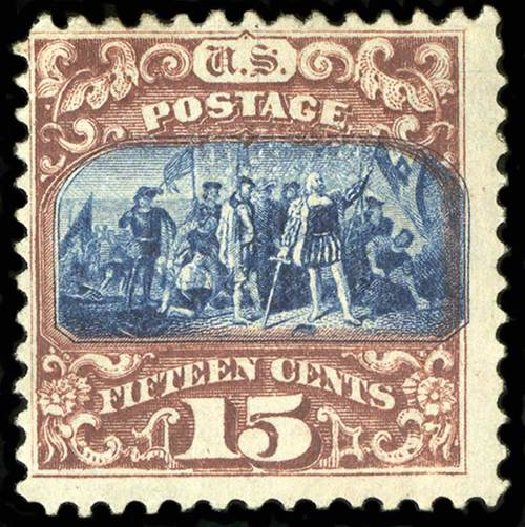 Value of US Stamps Scott Catalog # 119 - 1869 15c Pictorial Columbus. Spink Shreves Galleries, Jul 2015, Sale 151, Lot 110