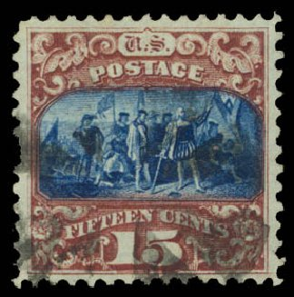 US Stamps Price Scott # 119: 15c 1869 Pictorial Columbus. Daniel Kelleher Auctions, Aug 2015, Sale 672, Lot 2354