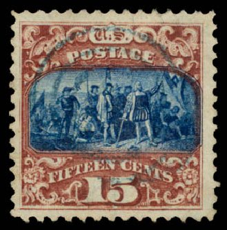 Value of US Stamps Scott Catalogue # 119: 1869 15c Pictorial Columbus. Daniel Kelleher Auctions, Aug 2015, Sale 672, Lot 2355