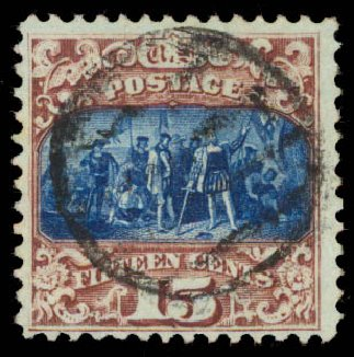 US Stamps Price Scott #119 - 1869 15c Pictorial Columbus. Daniel Kelleher Auctions, May 2015, Sale 669, Lot 2576