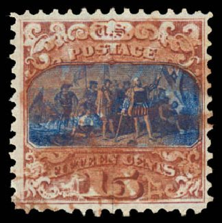 US Stamps Value Scott Catalog # 119: 15c 1869 Pictorial Columbus. Daniel Kelleher Auctions, Aug 2015, Sale 672, Lot 2356