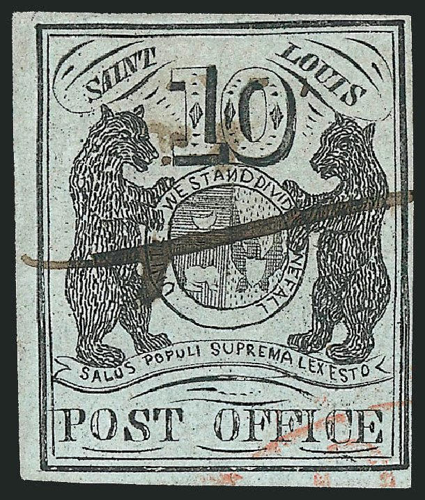 Cost of US Stamp Scott Cat. 11X2 - 1845 10c St Louis Postmasters Provisional. Robert Siegel Auction Galleries, Dec 2012, Sale 1037, Lot 1347