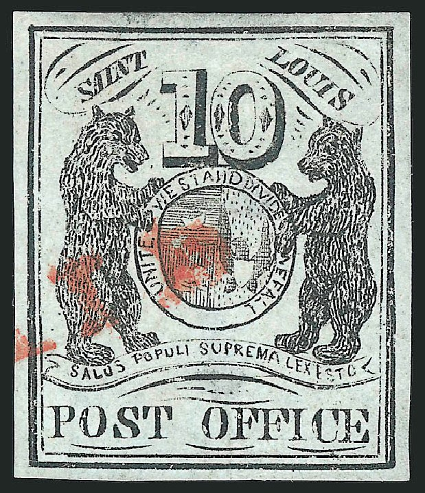 US Stamp Values Scott Cat. #11X2: 1845 10c St Louis Postmasters Provisional. Robert Siegel Auction Galleries, Oct 2014, Sale 1082, Lot 317
