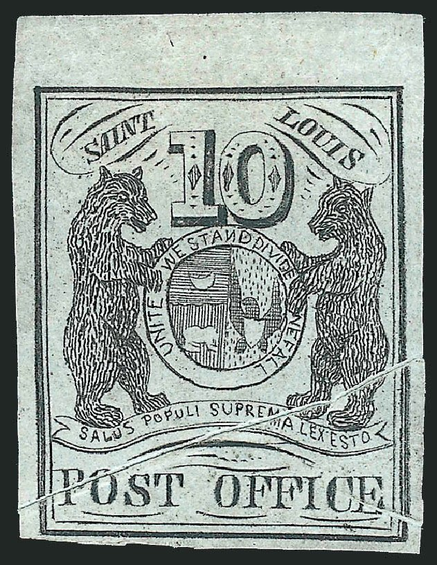 US Stamps Prices Scott Catalog # 11X2: 10c 1845 St Louis Postmasters Provisional. Robert Siegel Auction Galleries, Jun 2012, Sale 1025, Lot 38