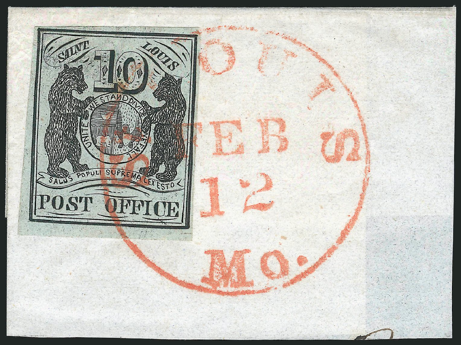 Value of US Stamp Scott 11X2 - 10c 1845 St Louis Postmasters Provisional. Robert Siegel Auction Galleries, Jun 2012, Sale 1025, Lot 39