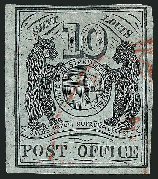 Costs of US Stamps Scott Catalog 11X2 - 10c 1845 St Louis Postmasters Provisional. Robert Siegel Auction Galleries, Jun 2012, Sale 1025, Lot 40