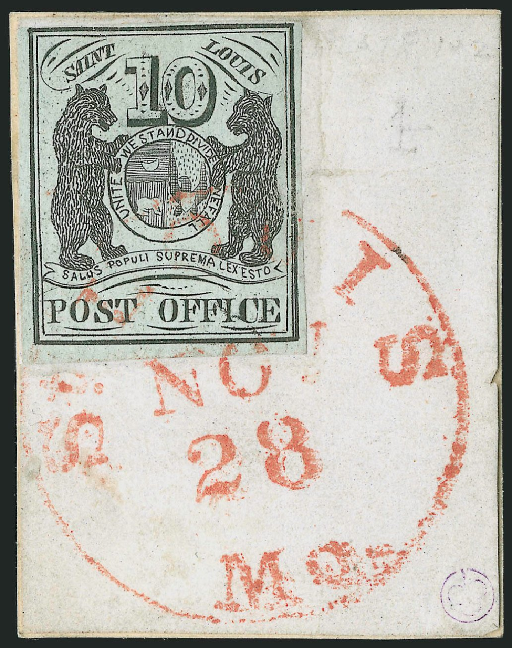 Value of US Stamps Scott # 11X2: 1845 10c St Louis Postmasters Provisional. Robert Siegel Auction Galleries, Dec 2013, Sale 1062, Lot 20