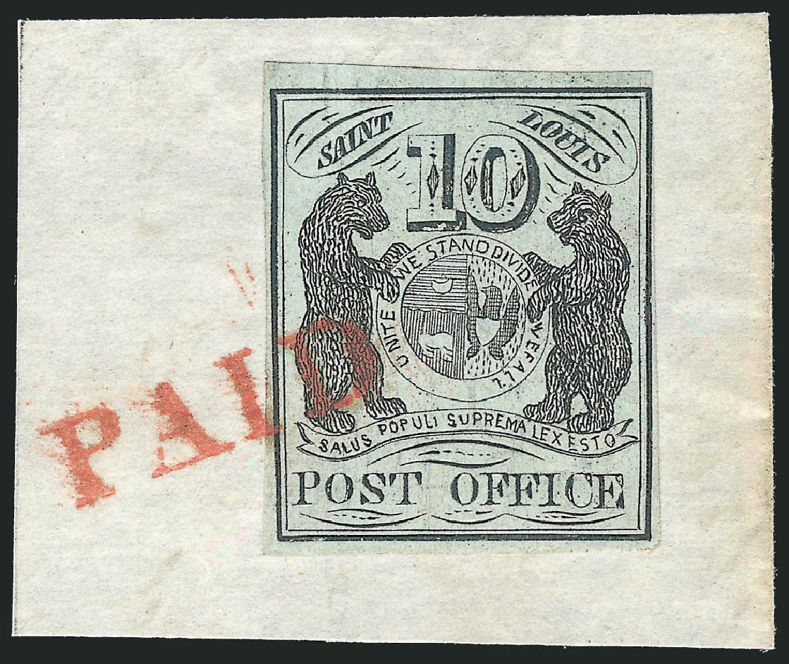 Values of US Stamps Scott Catalogue #11X2: 10c 1845 St Louis Postmasters Provisional. Robert Siegel Auction Galleries, Jun 2015, Sale 1106, Lot 3010