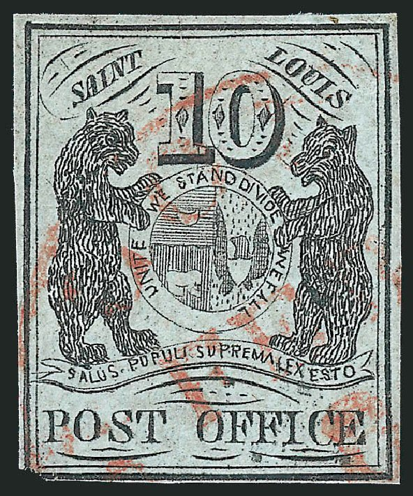 US Stamps Price Scott Catalogue #11X2 - 1845 10c St Louis Postmasters Provisional. Robert Siegel Auction Galleries, Jun 2012, Sale 1025, Lot 41