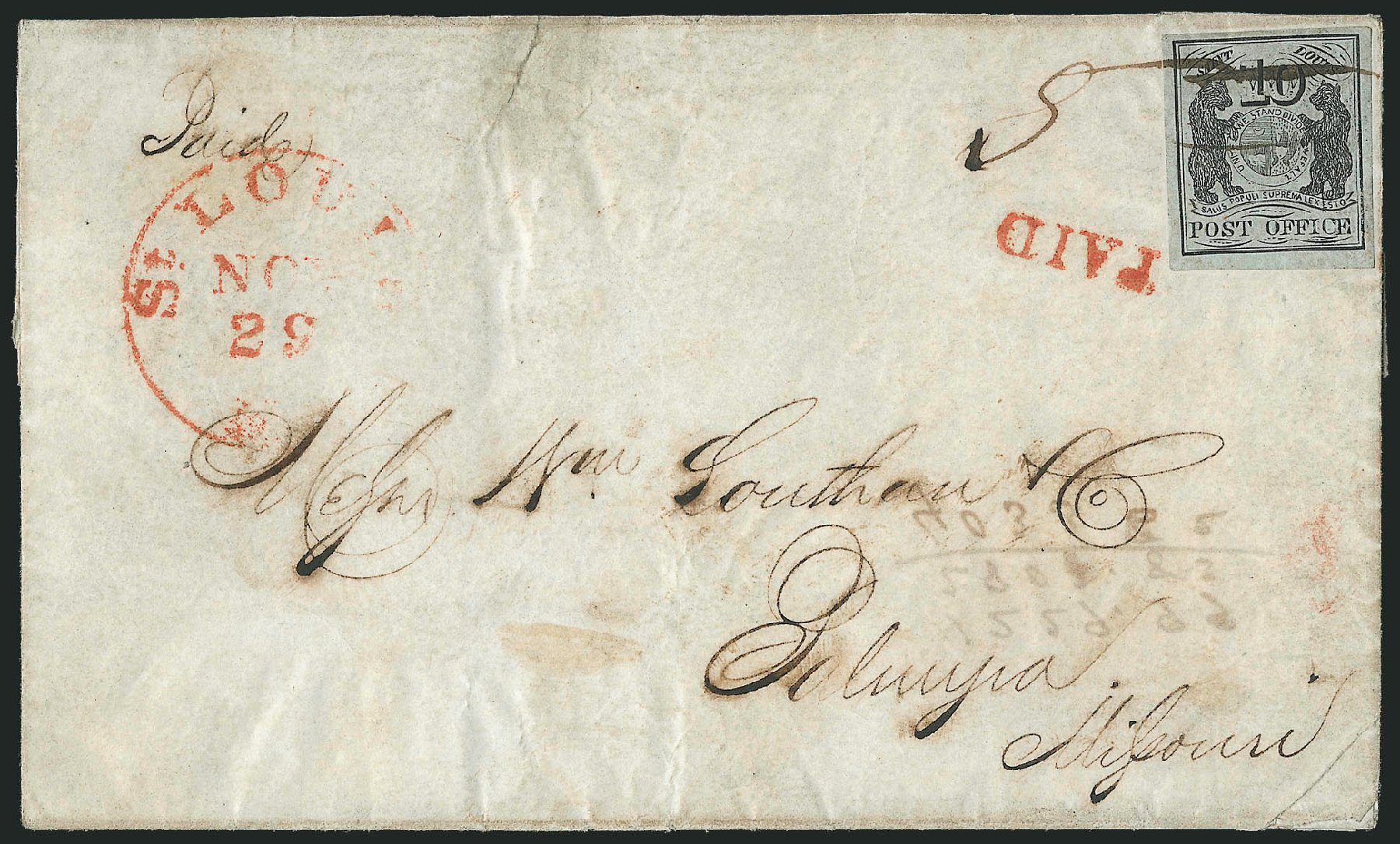 Value of US Stamp Scott Cat. # 11X2: 10c 1845 St Louis Postmasters Provisional. Robert Siegel Auction Galleries, Jun 2012, Sale 1025, Lot 42