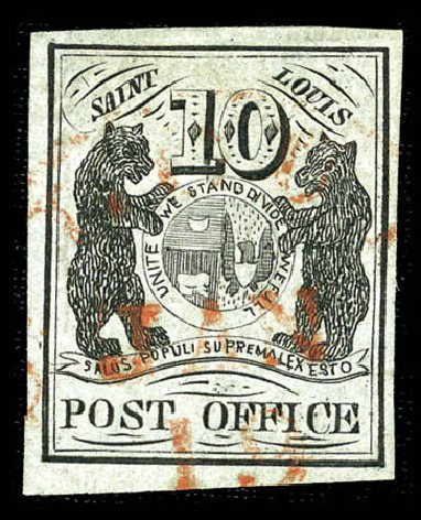 US Stamp Price Scott Catalog 11X2: 10c 1845 St Louis Postmasters Provisional. Matthew Bennett International, Feb 2012, Sale 340, Lot 13