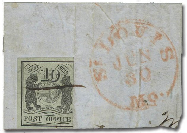 US Stamps Value Scott Catalogue #11X2: 1845 10c St Louis Postmasters Provisional. Daniel Kelleher Auctions, Oct 2012, Sale 632, Lot 913