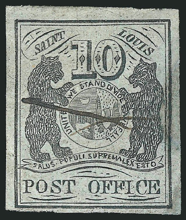 US Stamps Price Scott Catalog 11X2: 10c 1845 St Louis Postmasters Provisional. Robert Siegel Auction Galleries, Jun 2012, Sale 1026, Lot 1106