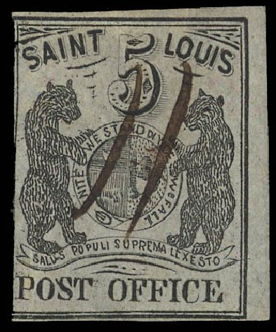 Value of US Stamps Scott Cat. 11X4 - 1846 5c St Louis Postmasters Provisional. Daniel Kelleher Auctions, Jan 2012, Sale 628, Lot 197