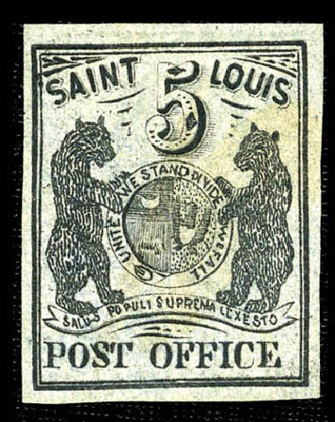 Cost of US Stamp Scott Catalogue 11X4 - 5c 1846 St Louis Postmasters Provisional. Matthew Bennett International, Feb 2012, Sale 340, Lot 15