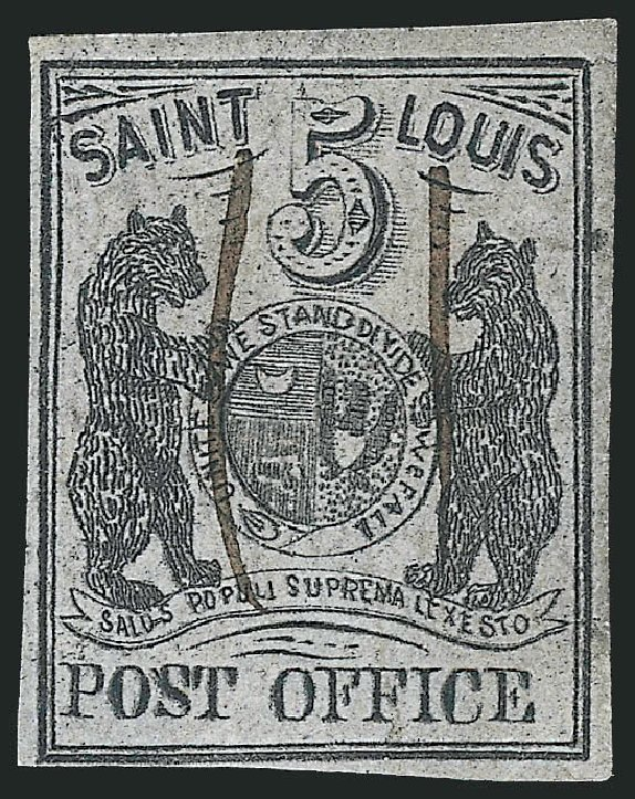 Values of US Stamps Scott Catalog 11X4 - 1846 5c St Louis Postmasters Provisional. Robert Siegel Auction Galleries, Jun 2012, Sale 1025, Lot 45