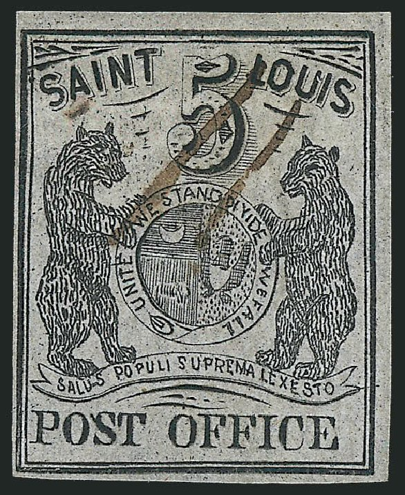 Values of US Stamps Scott 11X4 - 5c 1846 St Louis Postmasters Provisional. Robert Siegel Auction Galleries, Jun 2012, Sale 1025, Lot 43