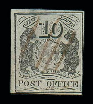 US Stamps Values Scott # 11X5 - 10c 1846 St Louis Postmasters Provisional. Matthew Bennett International, Jun 2007, Sale 319, Lot 1017