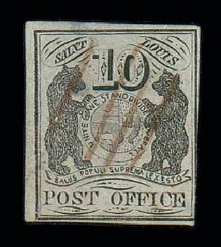 US Stamps Values Scott # 11X5 - 10c 1846 St Louis Postmasters Provisional. Matthew Bennett International, Jun 2007, Sale 319, Lot 1017