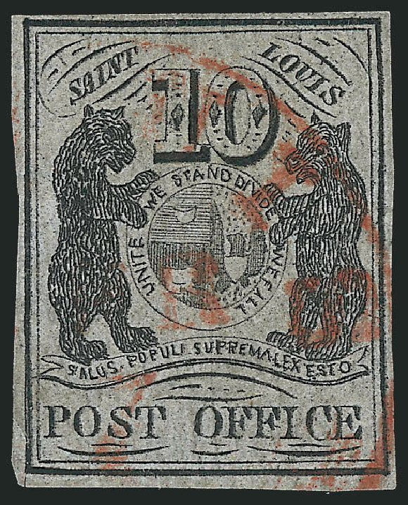 US Stamps Values Scott Catalogue 11X5: 1846 10c St Louis Postmasters Provisional. Robert Siegel Auction Galleries, Jun 2012, Sale 1025, Lot 47