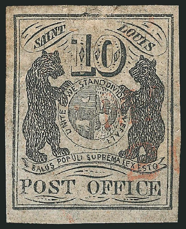 Prices of US Stamps Scott Catalogue 11X5 - 1846 10c St Louis Postmasters Provisional. Robert Siegel Auction Galleries, Jun 2012, Sale 1025, Lot 48