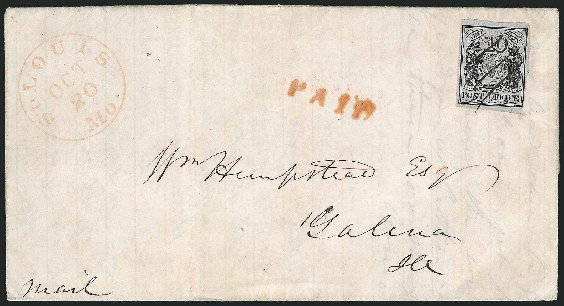 US Stamp Prices Scott Cat. 11X5: 1846 10c St Louis Postmasters Provisional. Robert Siegel Auction Galleries, Jun 2012, Sale 1025, Lot 49