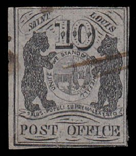 Values of US Stamps Scott Cat. #11X5 - 1846 10c St Louis Postmasters Provisional. Daniel Kelleher Auctions, Jan 2015, Sale 663, Lot 1200