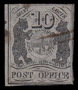 Values of US Stamps Scott Cat. #11X5 - 1846 10c St Louis Postmasters Provisional. Daniel Kelleher Auctions, Jan 2015, Sale 663, Lot 1200
