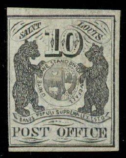 US Stamps Values Scott Cat. #11X5: 1846 10c St Louis Postmasters Provisional. Daniel Kelleher Auctions, May 2015, Sale 669, Lot 2335