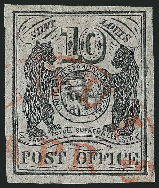 Values of US Stamp Scott 11X5 - 1846 10c St Louis Postmasters Provisional. Robert Siegel Auction Galleries, Dec 2013, Sale 1062, Lot 22