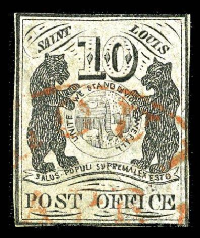 Costs of US Stamp Scott Cat. #11X5: 10c 1846 St Louis Postmasters Provisional. Matthew Bennett International, Feb 2012, Sale 340, Lot 16