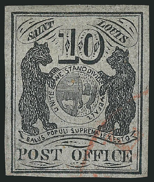 US Stamp Values Scott Cat. 11X5: 1846 10c St Louis Postmasters Provisional. Robert Siegel Auction Galleries, Jun 2012, Sale 1025, Lot 46