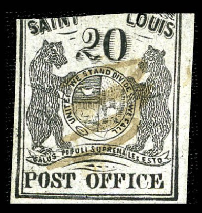 US Stamps Values Scott Catalogue # 11X6: 1846 20c St Louis Postmasters Provisional. Matthew Bennett International, Feb 2012, Sale 340, Lot 17