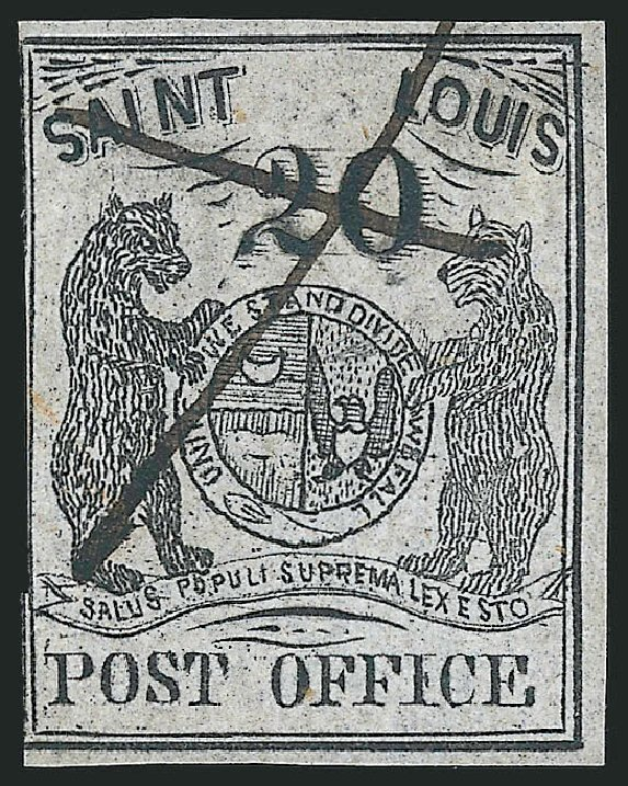 Costs of US Stamp Scott Catalogue 11X6 - 20c 1846 St Louis Postmasters Provisional. Robert Siegel Auction Galleries, Oct 2014, Sale 1082, Lot 318