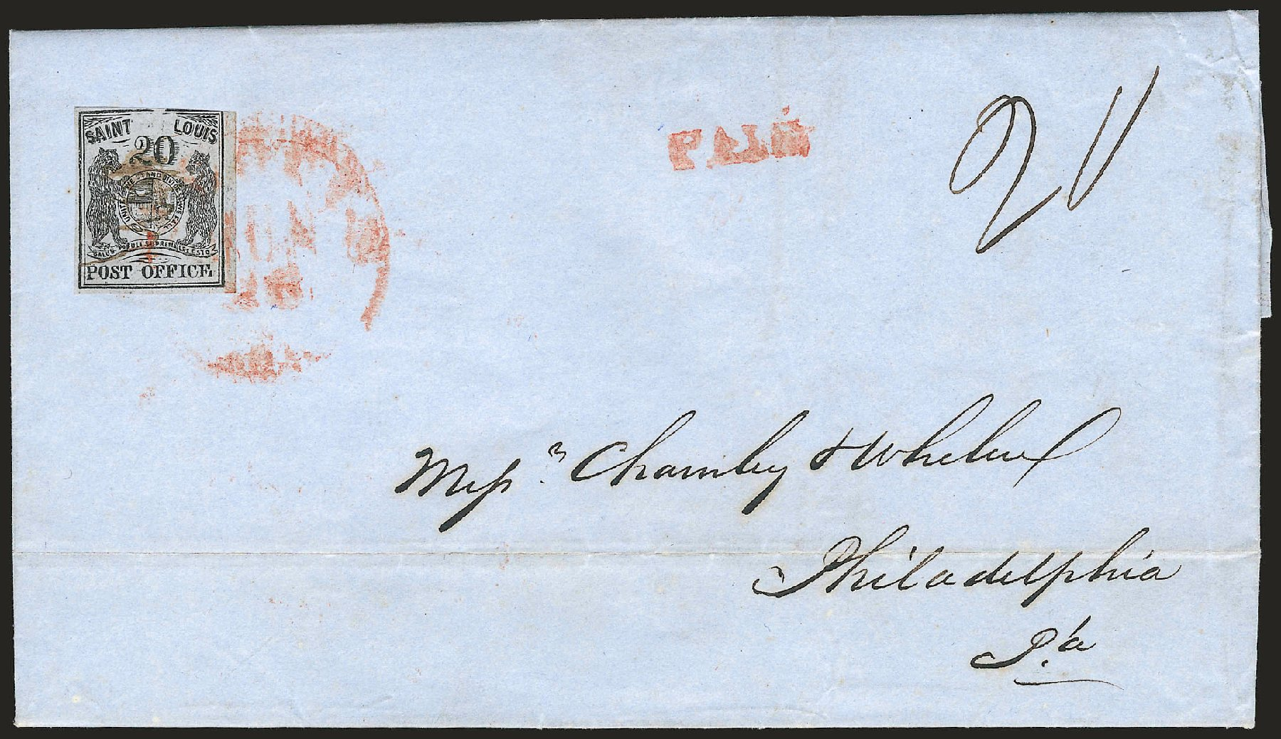 Price of US Stamp Scott Cat. #11X6: 1846 20c St Louis Postmasters Provisional. Robert Siegel Auction Galleries, Jun 2009, Sale 973, Lot 12