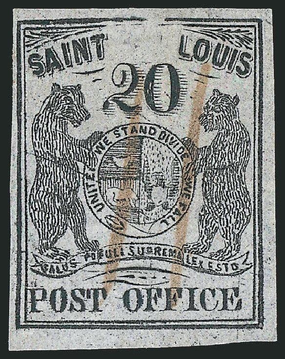 Value of US Stamps Scott 11X6 - 20c 1846 St Louis Postmasters Provisional. Robert Siegel Auction Galleries, Dec 2013, Sale 1062, Lot 23