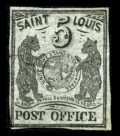US Stamp Price Scott Catalogue #11X7: 1846 5c St Louis Postmasters Provisional. Matthew Bennett International, Feb 2012, Sale 340, Lot 18