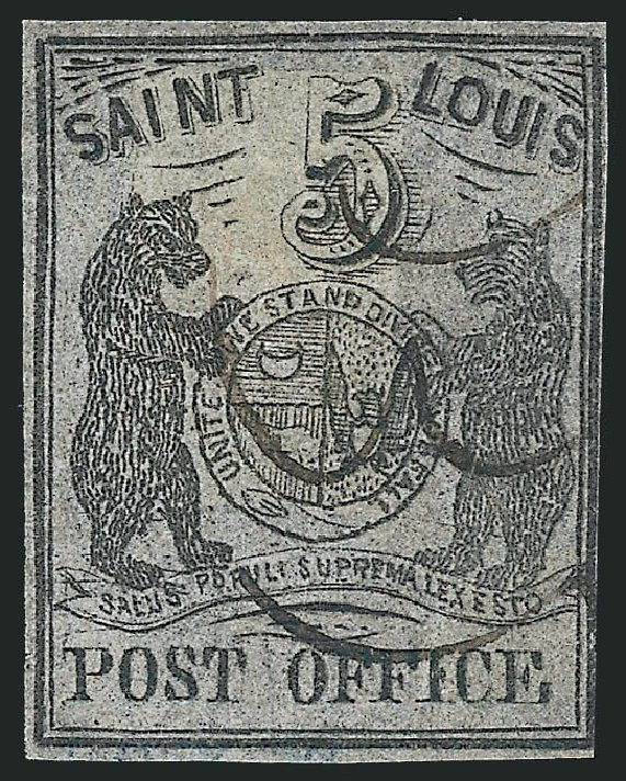 US Stamp Values Scott Catalogue 11X7: 1846 5c St Louis Postmasters Provisional. Robert Siegel Auction Galleries, Jun 2012, Sale 1025, Lot 53