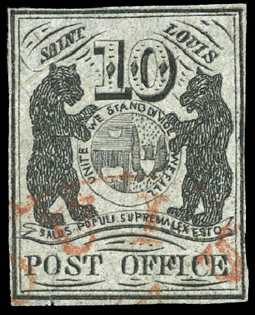 US Stamp Values Scott Cat. # 11X8 - 1846 10c St Louis Postmasters Provisional. Matthew Bennett International, Mar 2011, Sale 336, Lot 1097